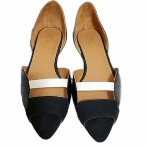 Black and White Peep-toe Flats with Box